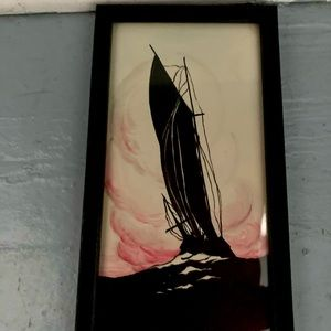 1930's vintage boat nautical water color painting